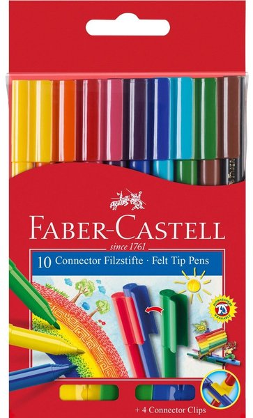 Флумастери 10 цвята Faber-Castell Connector 1010180143
